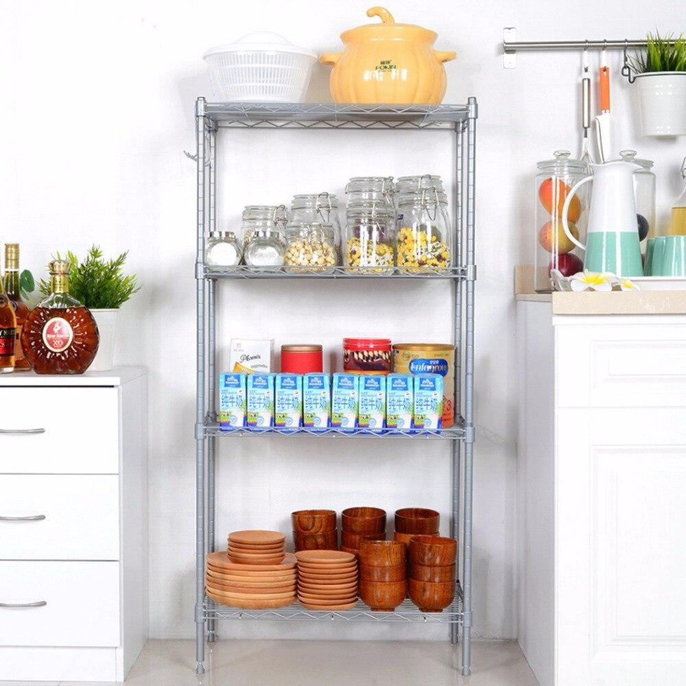 Homdox New Arrive 4 Shelf Storage Organizer Rack Kitchen Wire Shelving Adjustable Height Garage Storage