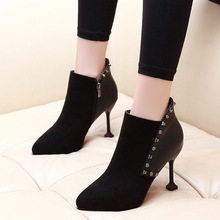 цены 2019 New Winter Women Shoes Woman Boots Sexy High Heels Ankle Boots Woman Kid Suede Leather Shoes Booties CH-A0120