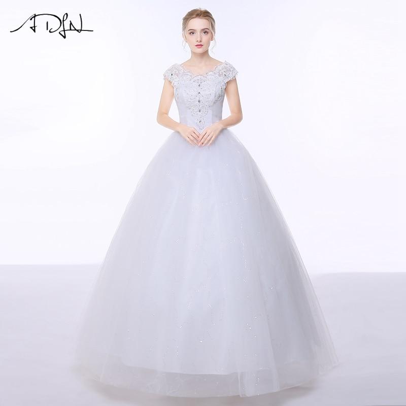adln vestido de noiva wedding dresses cap sleeve sequin tulle bride dress gowns floor length new designer back lace up