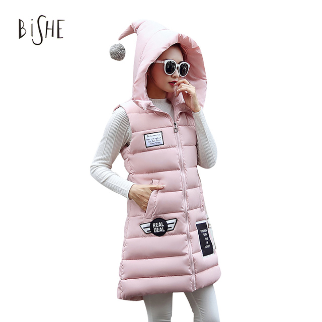 Women Vests 2017 Winter Fashion Sleeveless Long Veste Outerwear Femme Hooded Down Cotton Warm Vest Chalecos Mujer Streetwear