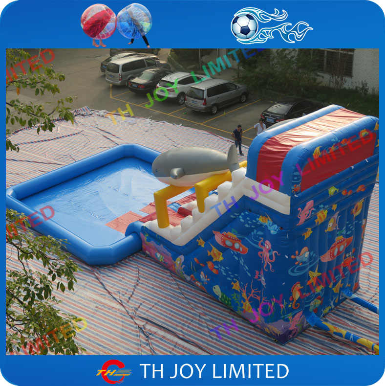 cheap price 055mm pvc tarpaulin 8x4x65m big inflatable shark slideinflatable pool