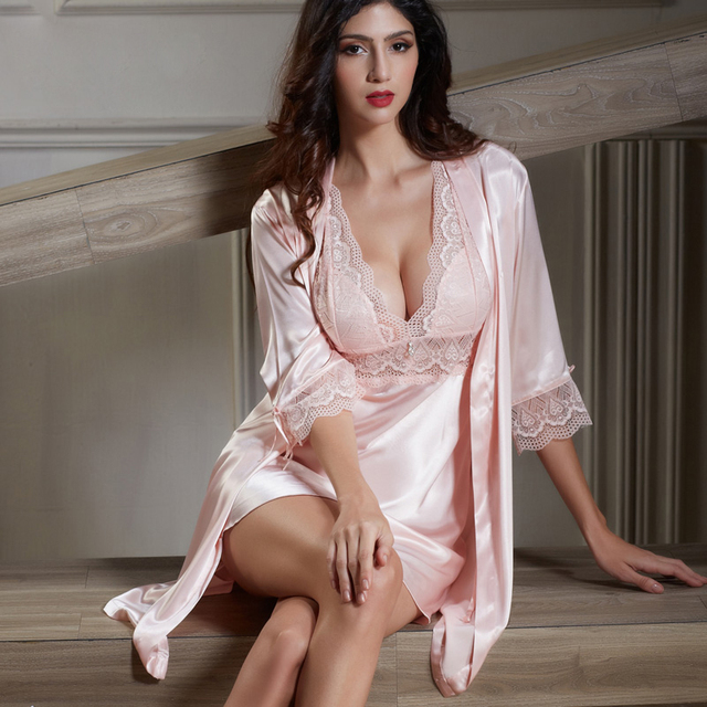 XIFENNI Silk Bathrobes Two-Piece Female Sleepwear Embroidery Lace Nightgowns Princess Pink Imitation Silk Robe Sets 6621