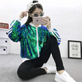 Fashion sequin jacket Women personality baseball uniform long sleeve zipper loose jackets ladies Nightclub stage costume #LX6069