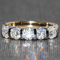 Queen Brilliance 1.25 Ct F Color Wedding Band Half Eternity Band Matching Moissanite Diamond Band Genuine 14K 585 Two Tones Gold