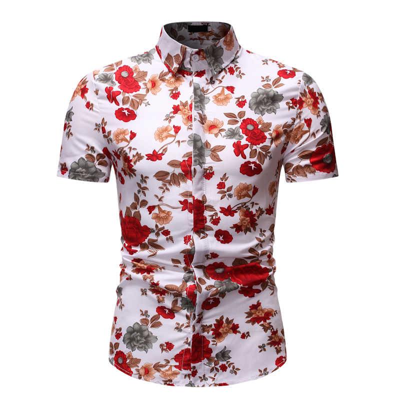 Цветочная гавайская рубашка Повседневная Camisa Masculina 2019 новая брендовая рубашка с коротким рукавом мужская приталенная повседневная мужская рубашка Harajuku