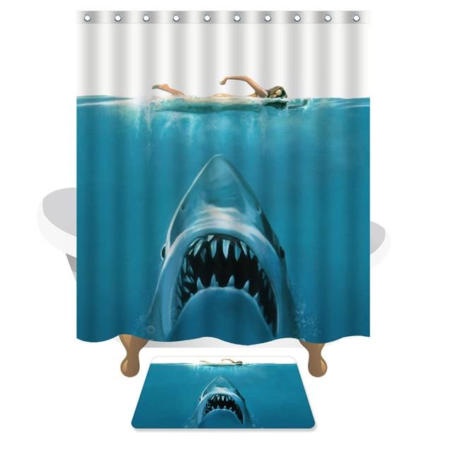 1 PCS Ocean Blue Shark Shower Curtain Bathroom Carpet Waterproof Anti Mildew Product Polyester