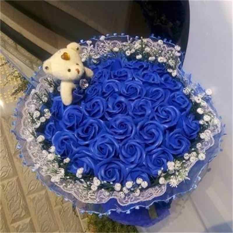 Handmade urso de pelúcia brinquedos de pelúcia com falso rosas moda buquê de flores dos desenhos animados criativo Dia Dos Namorados presentes de aniversário graduação