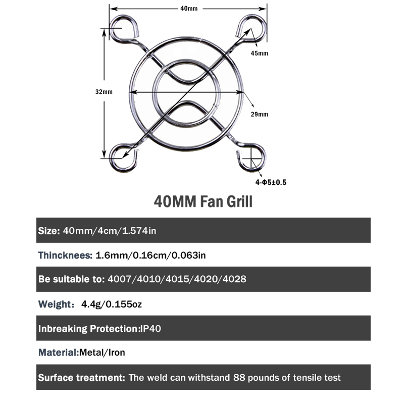 1000 Pieces Metal DC Fan Grill Protector Finger Guard 40mm for Computer in Fans Cooling from Computer Office