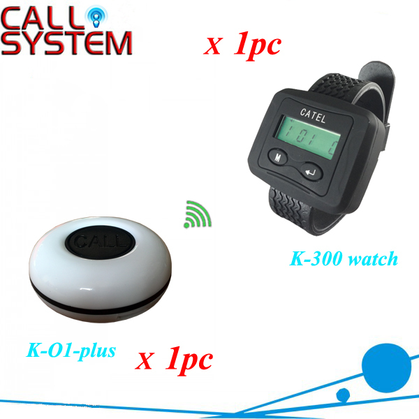 System service calling button waiter 1 watch with 1 button for sample order CE Approved one set wireless system waiter caller bell service 1 watch wrist pager with 5pcs table customer button ce passed