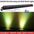 Продаж 8 XLot Коммерческих СВЕТОДИОДНЫЕ Стены Мыть Свет 24x3 Вт RGB LED Алюминиевый Корпус 3in1 Линейного Изменения Цвета пиксель Управления Коня на Скаку