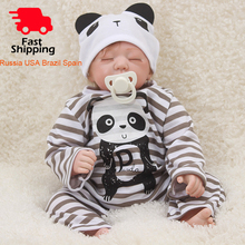 OtardDolls Bebe Reborn Doll 18 Baby Lifelike Soft Vinyl Silicone Panda Clothes for Children Birthday Gifts