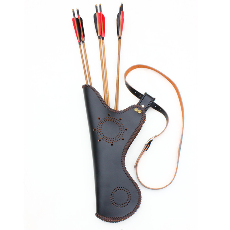3mm Genuine Leather Archery Arrow Quiver Traditional Compound Recurve Arrows Bag Archery Quiver for Shooting Hunting Pouch dmar archery quiver recurve bow bag arrow holder black high class portable hunting achery accessories