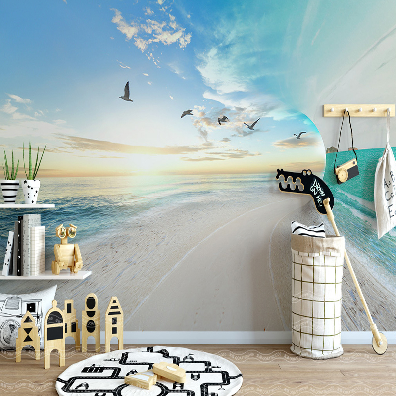 modern simple 3 d landscape wallpaper living room bedroom baby room TV background wall mural desktop blue wallpaper home decor
