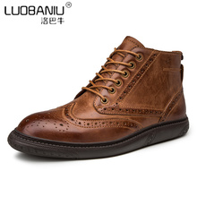 TOP Recommand !! NEW Design Retro Mens Carved Boots British Style Lace Up Business Man Leather Ankle