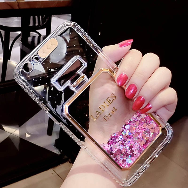 Luxury Perfume Bottle Dynamic Liquid Quicksand Phone Cases For iPhone 8 7Plus 6S 5 SE Cute Silicone+PC Led Flash Light Up Cover