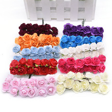 72/144Pcs 2cm Mini Artificial Flower Paper Rose Handmade For Wedding Decoration DIY Wreath Gift Scrapbooking Craft Fake