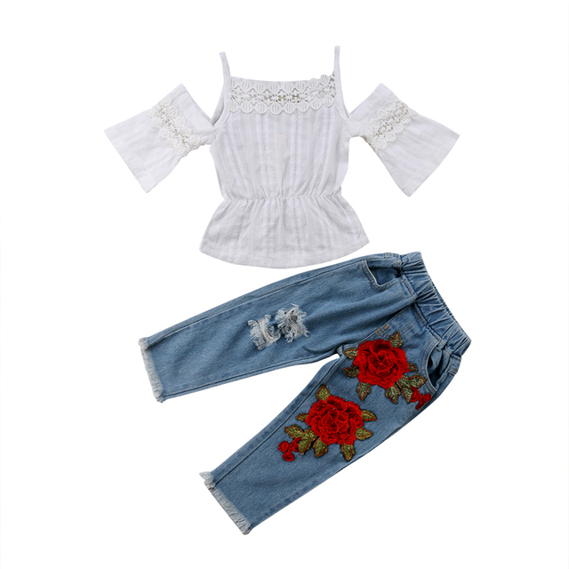 04cb2dca5fe New Fashion 2Pcs Toddler Kids Baby Girls Clothing Off Shoulder Lace Tops  Jeans Denim Pants Outfits