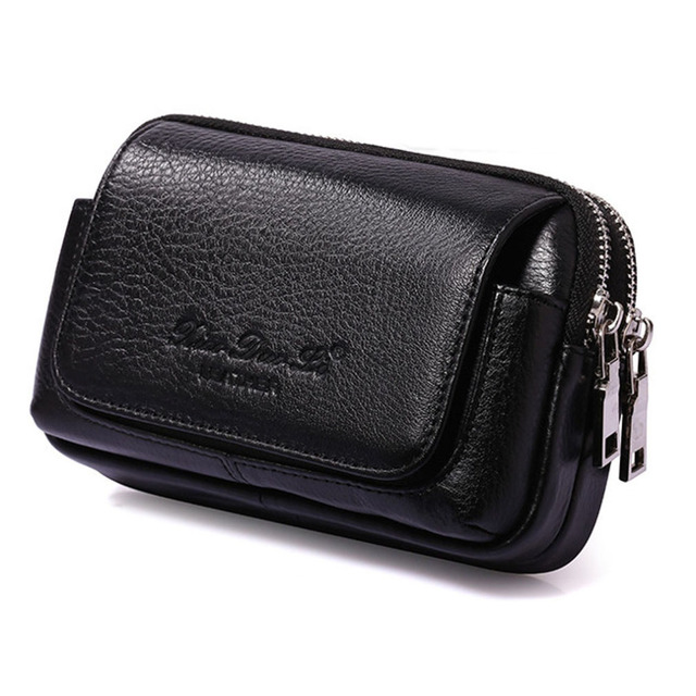 Men Cowhide Genuine Leather Military Cell/Mobile Phone Cover Case skin Hip Belt Bum Purse Fanny Pack Waist Bag Pouch