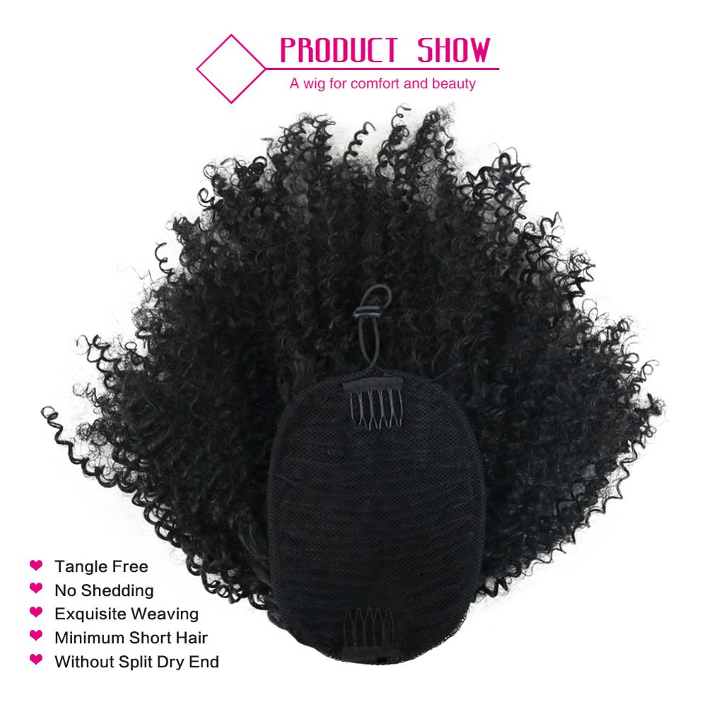 Deyngs Draw string Puff Afro Kinky Curly ponytail African American Short Wrap Synthetic clip in ponytail Hair Extensions 8inch 2