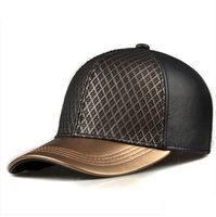 RY988 Exclusive 2018 Unisex Hip Hop Genuine Leather Baseball Hats For Man Woman Golden Caps Grid