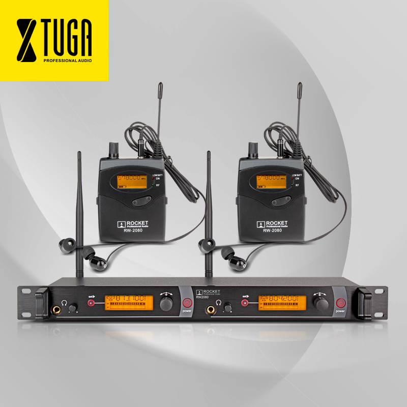 Qualité supérieure!! Fusée Audio RW2080 Dans L'oreille Moniteur Système 2 Canaux 2 Bodypack Surveillance dans les écouteurs sans fil SR2050 Type!