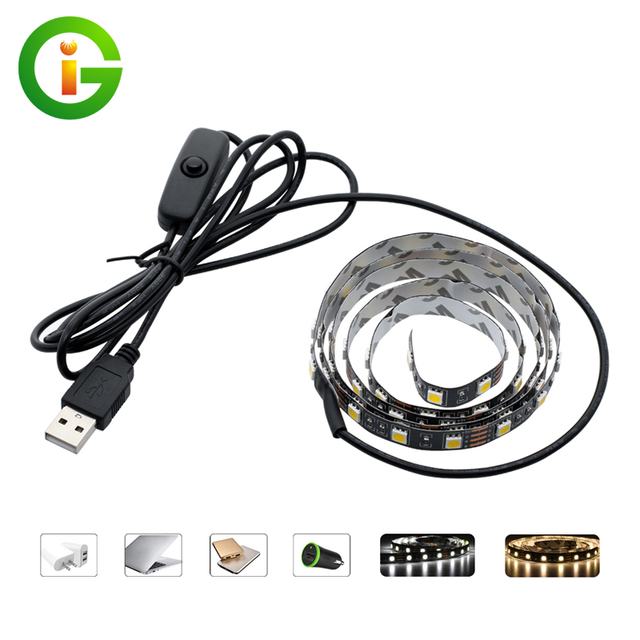 5V USB LED Strip 5050 TV Background Lighting 60LEDs/m Warm White / White  Whit