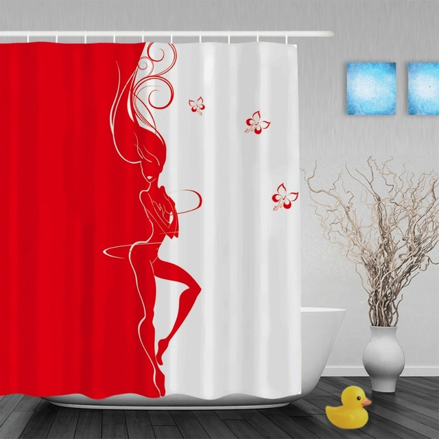 Slim Silhouette Of Beautiful Girls Bathroom Shower Curtains Sexy Home Decor Shower  Curtain Waterproof Polyester Fabric