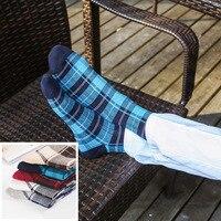 COCOTEKK 5 Pairs New European And American National Style Striped Lattice Men Socks Wedding Socks Cotton