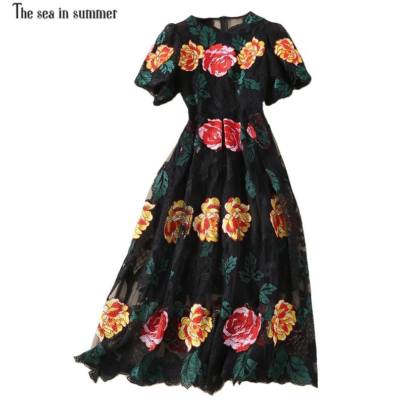 Multicolore En Luxe Multi Mode Robe Mer Dentelle Brodé Partie Automne Femmes Été Fleur De Vintage Mesh La Élégant pOgqnw55