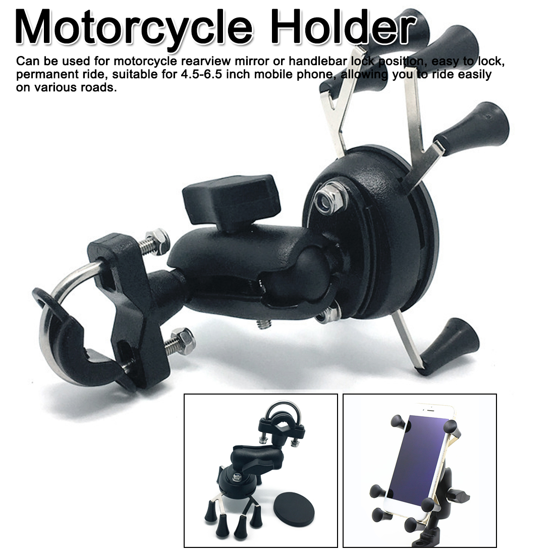 Motorcycle Handlebar Rear Mirror Mount Rail X-Grip For Gopro CellPhone Smartphone Holder For IPhone 7 7+ 6s Ram Mounts