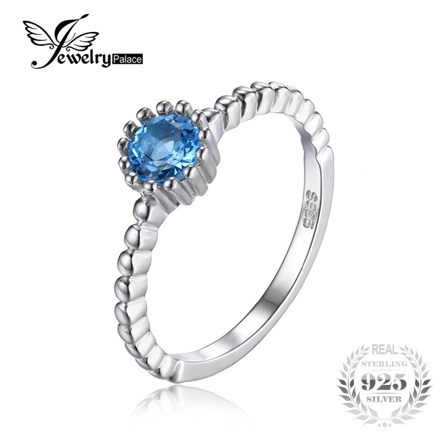 JewelryPalace 925 Sterling Silver 0.6ct Natural Blue Topaz Rope Band Stackable Ring Women Engagement Rings Fine Jewelry