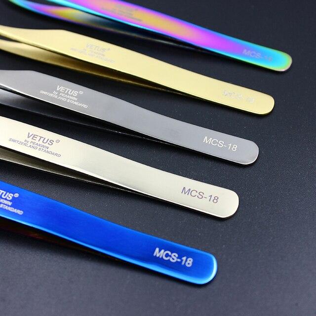 100% Original Genuine Vetus Tweezers MCS Series Premium Eyelash Extensions Beauty Makeup Tweezers Ultra Fine Tip Tweezers 3
