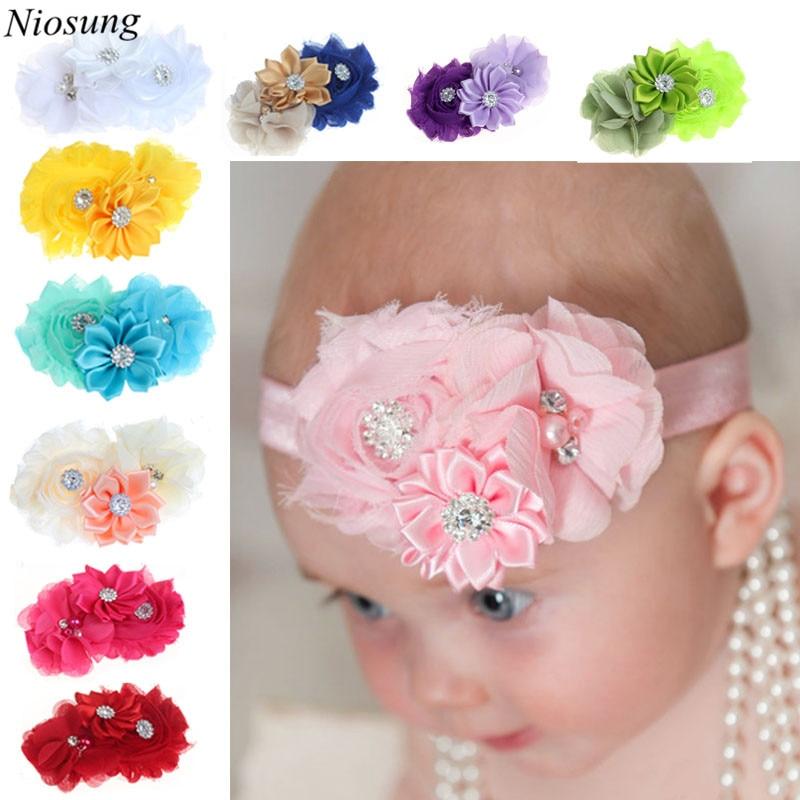Niosung 10PC Toddlers Infant Kids Babys Girl Headband Hairband Chiffon Flower Photography Headwear Hair Accessories