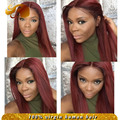 ALYSSA Glueless Full Lace Wigs Bleached Knots #135 Red Hair Peruvian Straight Lace Front Human Hair Wigs For Black Women
