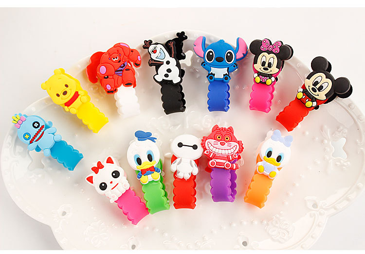 Free Shipping 10Pcs Cute Cartoon Headphone Earphone Cable Wire Organizer Cord Holder USB Charger Cable Winder For iphone samsung