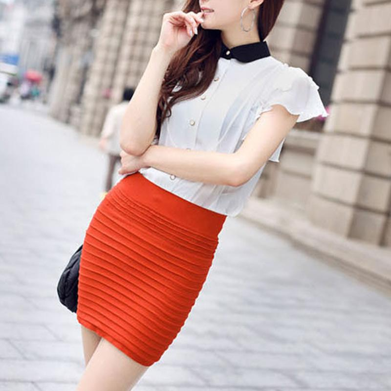 Women Summer Pencil Skirt Ladies Style Skirt Candy Color Pleated Pencil Skirts Female Stretch OL Work Wear Skirt for Office Lady