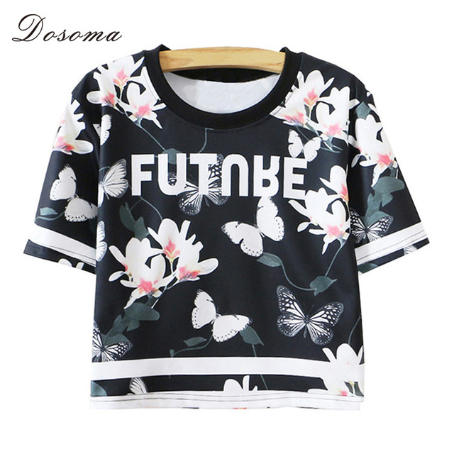 00562845 Summer Women's Black Butterfly Floral Shirts Female Fashion Short Section  Printed Loose Tops Short Sleeve Crop Tops Tee Shirts