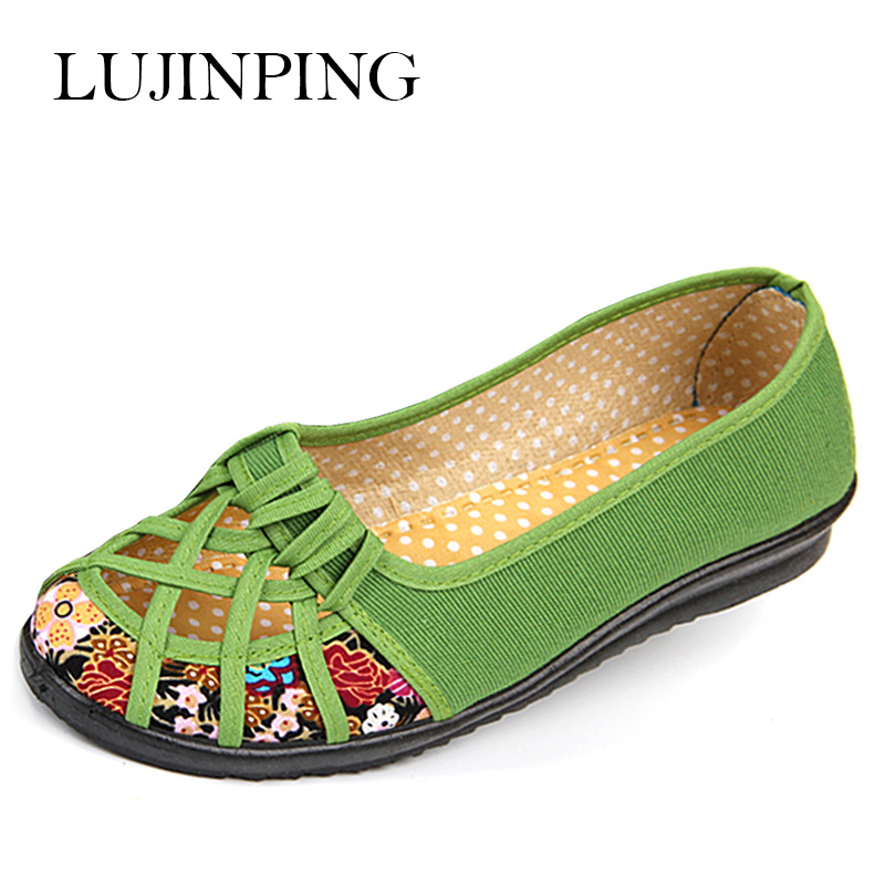 Old Beijing female shoes with flat bottom summer women shoes slip-on hollow ventilating shoes elderly mother