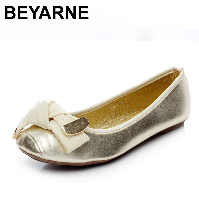 BEYARNE Spring and Autumn Flats for Women Sweet Flat Heel Fashion Women's Flats Brand Shoes Woman Plus Size 35-41 Free Shipping summer style hot selling 2 colors 2015 spring flats for women shoes cute mouse flat heel woman s flats fashion free shipping