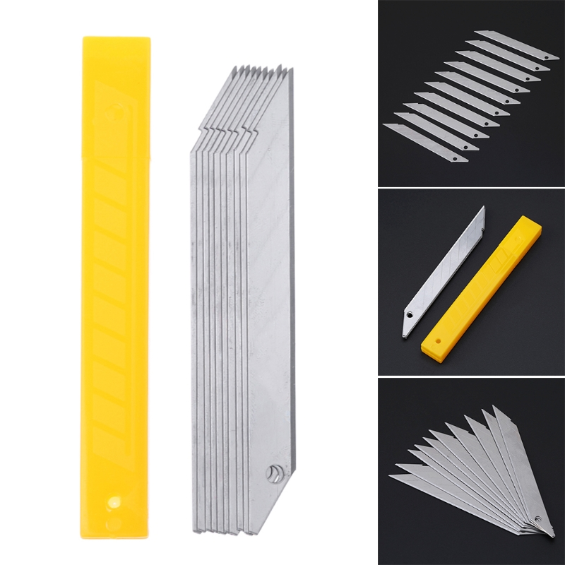10Pcs/Box 30 Degrees Cutter Blade Trimmer Sculpture Blade Utility Stainless Steel Paper Cutter School Supplies