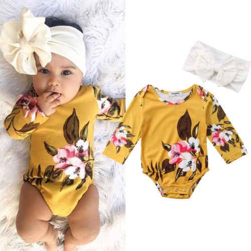 Новорожденных для маленьких девочек с длинным рукавом Цветочные ползунки + повязка 2 шт. Одежда 0-18 м