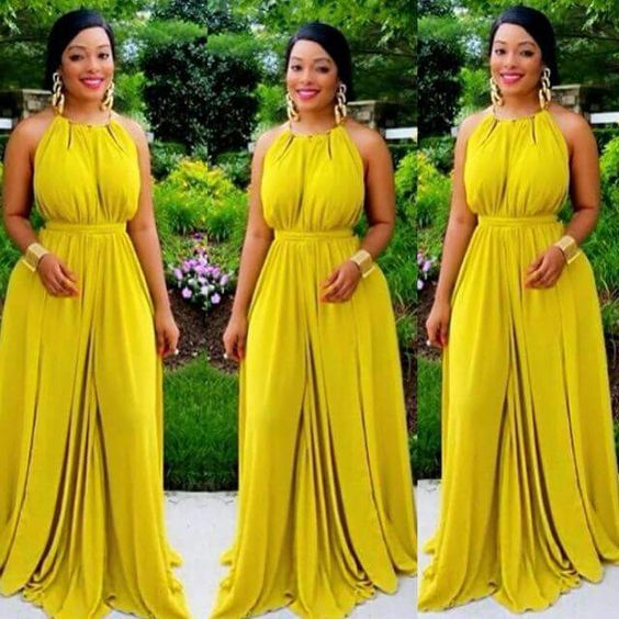 2017 Elegant African American Evening Dress Prom Dress A Line Yellow