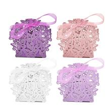10Pcs/Set Butterfly DIY Candy Cookie Gift Boxes Romantic Wedding Favors Decor Wedding Party Candy Box With Ribbon 4 Colors