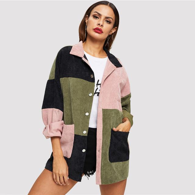 Multi-color Patchwork Design Casual Jacket
