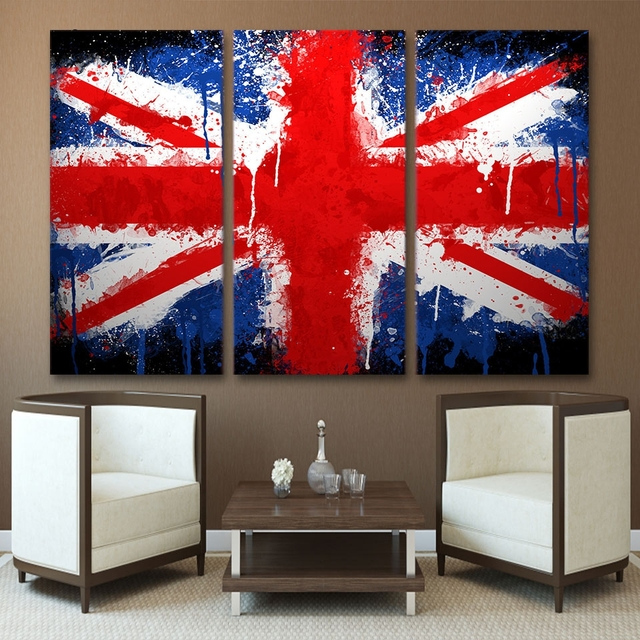 Canvas Painting Style Wall Modular Pictures 3 Panel The British Flag Art  For Living Room Cuadros