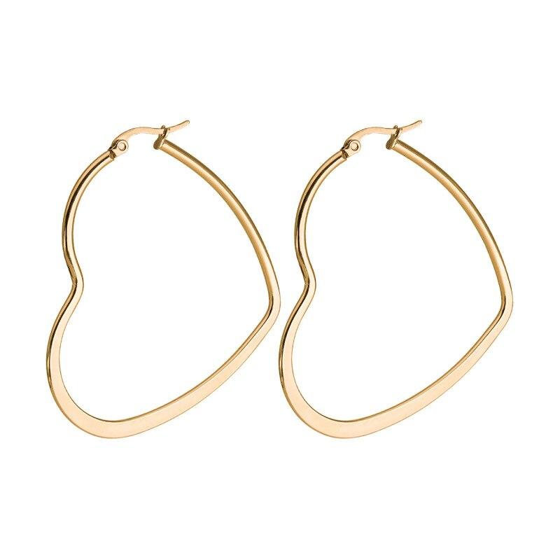 CHUKUI Cheap Heart Gold Hoop Earrings Female Big Heart Hoops Earrings Stianless Steel (6)