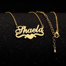 Custom Name Necklace With Heart Ribbon Handmade Gold Chain Stainless Steel Nameplate Pendant Collar Mujer