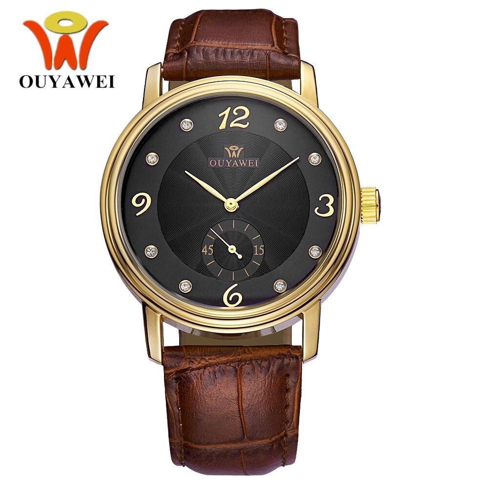 где купить OUYAWEI Mens Watches Top Brand Luxury Gold Tone Case Wrist Watch Automatic Mechanical Male Dress Watch Golden Relogio Masculino по лучшей цене