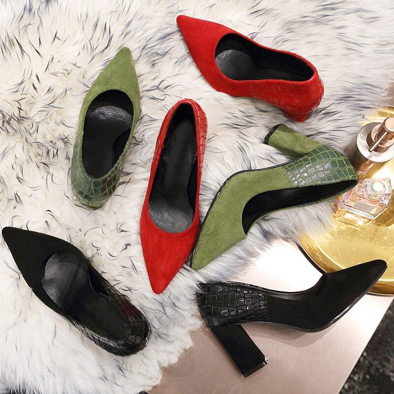Boda Patchwork Zapatos La Damas Serpiente Cocodrilo Tacón Terciopelo 2019 Los De Tacones Vestido Altos Marca Estilo verde Las Alto Mujeres rojo Negro Bombas Grueso Gamuza FqACwZq