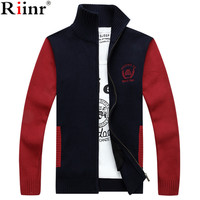 Riinr 2017 Casual New Arrival Men S Cardigan High Quality Winter Warm Fashion Patchwork Design Long